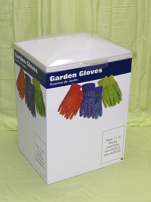 product example of demo table for garden gloves