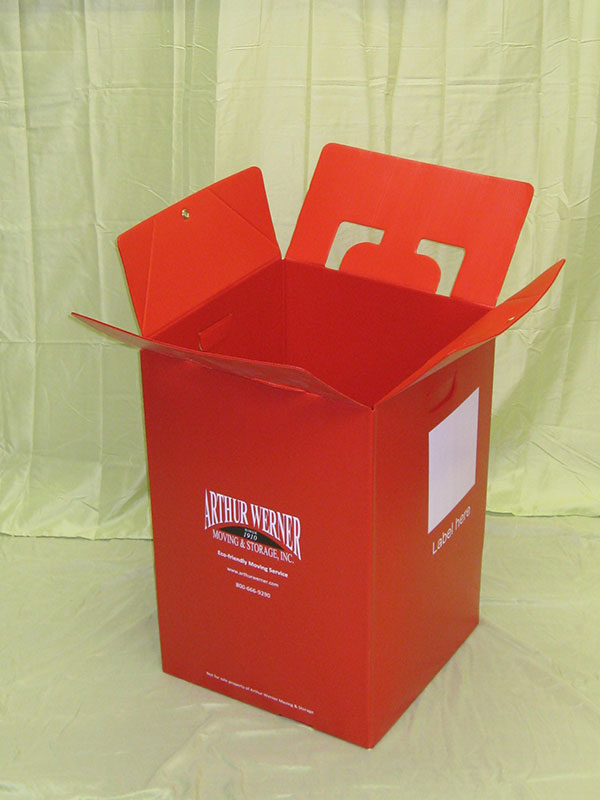 Plastic product example red moving container Arthur Werner Storage Inc