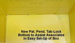 Plastic boxed Tab-lock bottom to assist associates in easy set-up of box