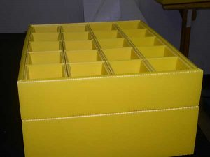 Plastic product example yellow box container with divider