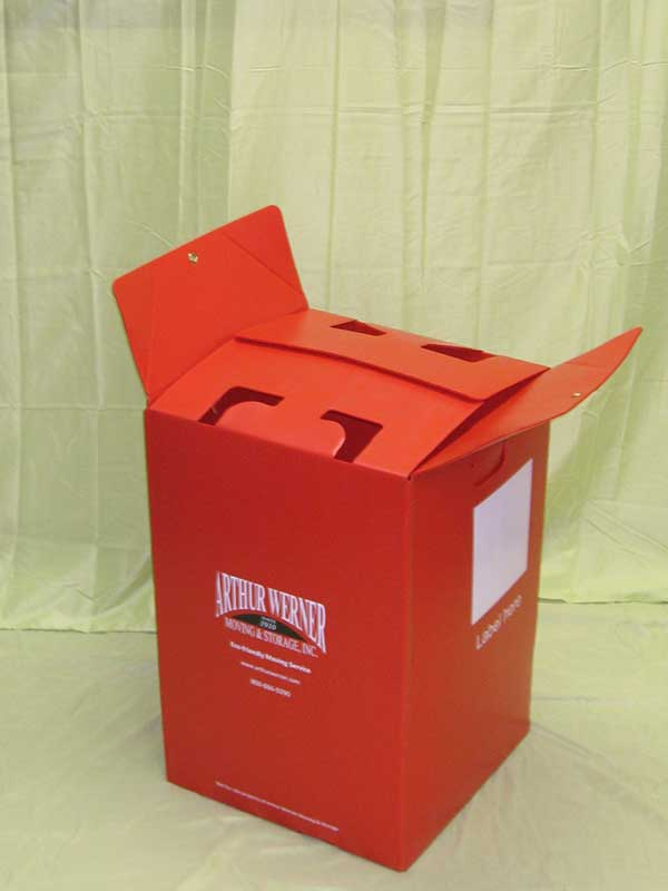 Plastic product example moving container red with attached lid
