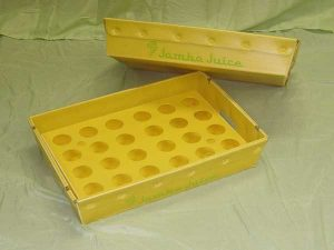 Plastic product example nestable tray with insert yellow color