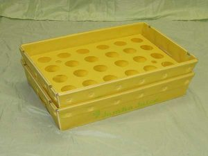 Plastic product example nestable tray yellow color