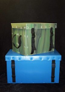Product sample security trunk green and blue
