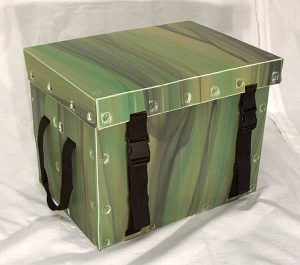 Product sample security trunk green with lock and handle