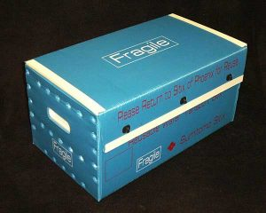 Product sample fragile box blue