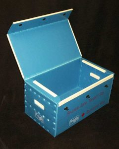 Product sample blue reusable transport box