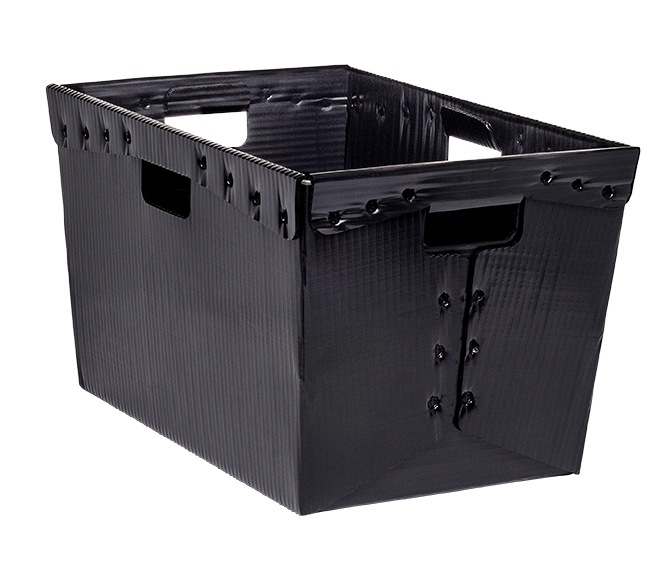 Nestable totes black KP-1546-Plastic Packaging Solutions Plastics