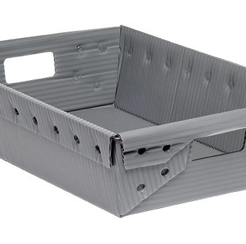 gray corrugated plastic box nestable totes KP-1555-Plastic Packaging Solutions Plastics