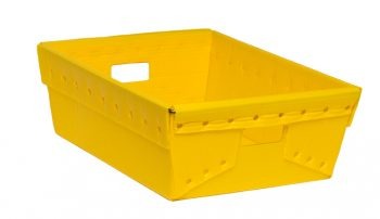 Yellow corrugated plastic box nestable totes KP-1560-Plastic Packaging Solutions Plastics