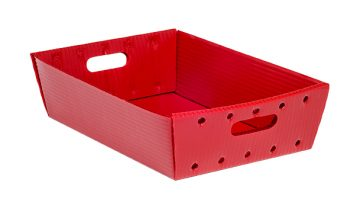 red corrugated plastic nestable top OD welded tray KP-5622-Plastic Packaging Solutions Plastics