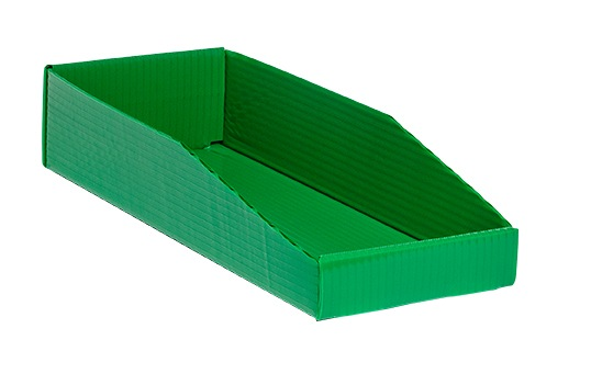 green corrugated plastic Hopper Drop Front Knockdown Tray KP-5260-Plastic Packaging Solutions Plastics