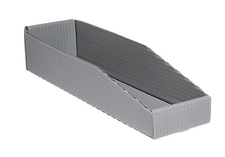 gray corrugated plastic Hopper Drop Front Knockdown Tray KP-5627-Plastic Packaging Solutions Plastics