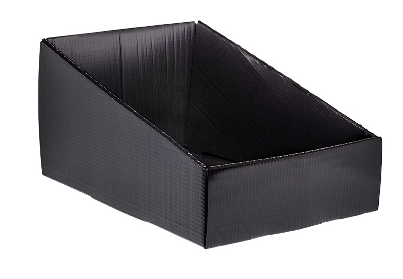 black corrugated plastic Hopper Drop Front Knockdown Tray KP-5638-Plastic Packaging Solutions Plastics
