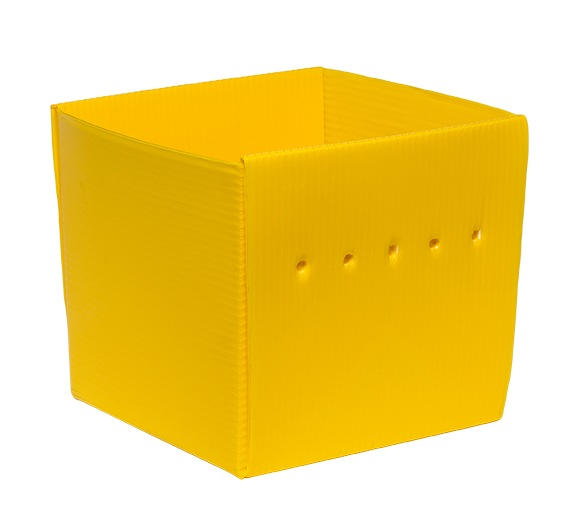yellow corrugated plastic Nestable Welded Tote KP-5641-Plastic Packaging Solutions Plastics