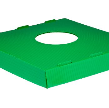 corrugated plastic lid with circle opening